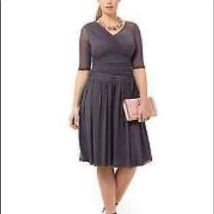 f3a1d2095f5 Kiyonna Size 2 Plus Gray mesh dress